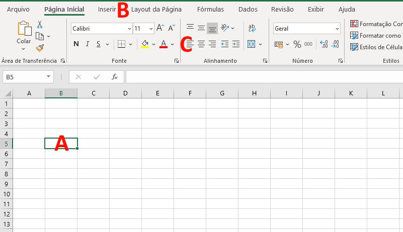 Linhas e colunas no Excel