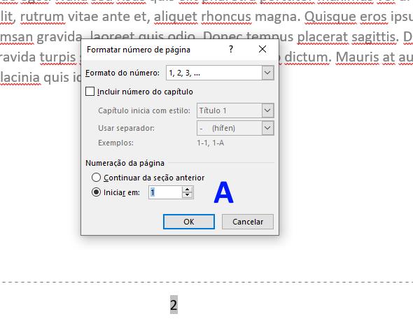 numeração de páginas no Word